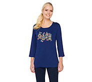Quacker Factory Embroidered Bird Cage 3/4 Sleeve T-shirt - A261717