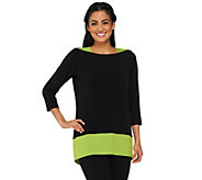 Susan Graver Liquid Knit 3/4 Sleeve Colorblock Tunic - A261917