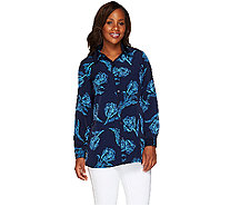 Susan Graver Printed Peachskin Button Front Shirt - A263017
