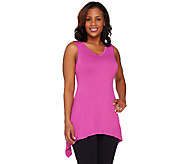 LOGO by Lori Goldstein V-neck Slub Knit Tank with Sharkbite Hem - A263217
