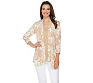 Susan Graver Printed Liquid Knit Cardigan with Solid Pleated Tank - A265017