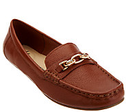 Isaac Mizrahi Live! Pebble Leather Moccasins w/ Chain Detail - A266917