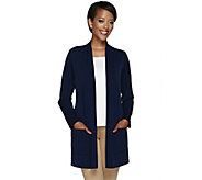 Susan Graver Liquid Knit Open Front Cardigan with Pockets - A267217