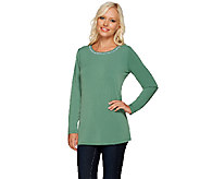 Susan Graver Artisan Liquid Knit Top with Embellishment - A268017