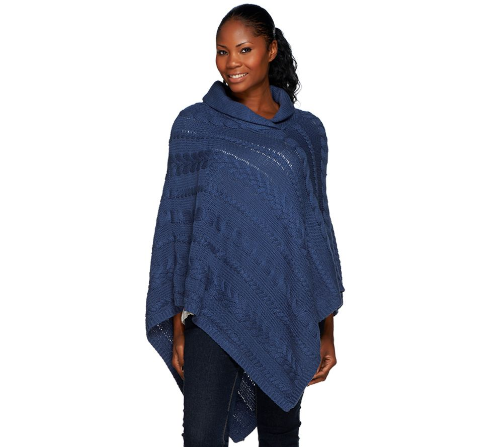Denim & Co. Cable Knit Shawl Collar Poncho