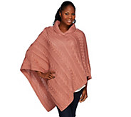 Denim & Co. Cable Knit Shawl Collar Poncho - A271317