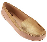 Isaac Mizrahi Live! Leather and Metallic Moccasins - A273917