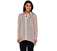 As Is Susan Graver Printed Sheer Chiffon Button Front Shirt - A274817