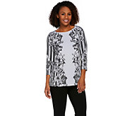 Bob Mackies 3/4 Sleeve Floral Printed Knit Top - A275317