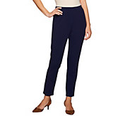 Dennis Basso Caviar Crepe Pull-On Knit Ankle Pants - A275517