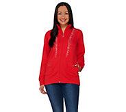 As Is Quacker Factory Princess Seam Rhinestone Zip Front Jacket - A278217
