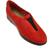 As Is Clarks Artisan Nubuck Perforated Slip-Ons - Daelyn Summit - A282417