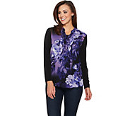 Susan Graver Liquid Knit Tunic with Printed Woven Overlay - A282917