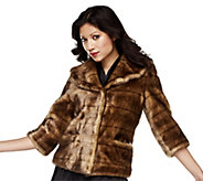 As Is Luxe Rachel Zoe Faux Mink Jacket with 3/4 Sleeve - A287417