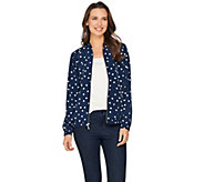 Susan Graver Printed Peachskin Zip Front Bomber Jacket - A288517