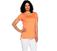 C. Wonder Essentials Pima Cotton Top with Curved Hi-Low Hem - A289717