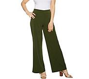 Susan Graver Petite Liquid Knit Wide Leg Pants with Back Slits - A291617