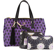 DENA Double Top Zip Satchel Handbag w/ Pouch and Bi-Fold Wallet - A296617