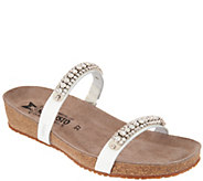 MEPHISTO Leather Double Strap Rhinestone Slides - Ivana - A298817