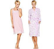 Carole Hochman Daisy & Ditsy Twin Print Cotton Robe or Chemise - A299317