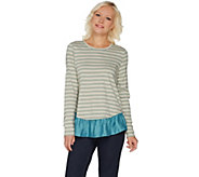 LOGO by Lori Goldstein Striped Cotton Slub Top with Ruffle Hem - A299617