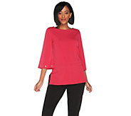 Susan Graver Liquid Knit Bateau Neck Tunic with Grommet Detail - A300517