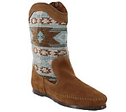 Minnetonka Suede Leather and Fabric Mid-Calf Boots - Baja - A338517