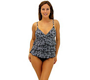 Fit 4 U Tummy Twisted Three-Tier V-Neck Top w/Beads - A339817