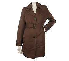 Dennis Basso Water Resistant Classic Trench Coat with Removable Belt