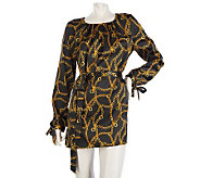 Dennis Basso Printed Charmeuse Tunic with Self Belt - A218518