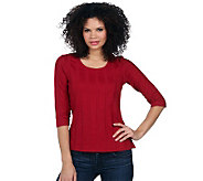 Denim & Co. Ribbed T-shirt with 3/4 Sleeve & Scoop Necklin - A219918
