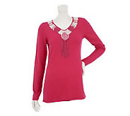 Attitudes by Renee V-Neck Sweater with Bead Detail - A231918