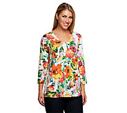Susan Graver Printed Liquid Knit Squared V-Neck 3/4 Sleeve Top - A234318