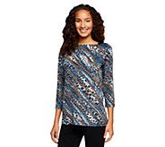 George Simonton 3/4 Sleeve Printed Top with Paillette Detail - A237018