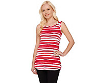 LOGO by Lori Goldstein Striped Knit Tank with Curved Hem - A254018
