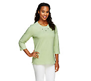 Denim & Co. Knit 3/4 Sleeve Top with Embroidery - A256318