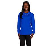 Quacker Factory Rockin Rhinestone Raglan Sleeve Sweatshirt Top - A257618
