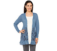 LOGO by Lori Goldstein Open Front Knit Cardigan with Floral Hem - A263218
