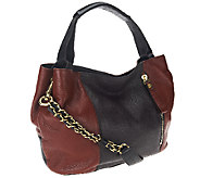 As Is orYANY Italian Leather Satchel w/ Chain Strap- Bethanie - A267518