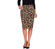 Dennis Basso Knit Animal Print Pencil Skirt - A268818