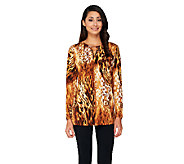 As Is Susan Graver Printed Liquid Knit Top w/ Embellished Keyhole - A269618