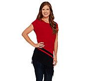 Susan Graver Plush Knit Sweater with Asymmetrical Hem & Fringe - A270318
