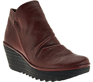 FLY London Leather Ruched Ankle Boots - Yip