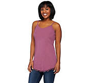 LOGO Layers by Lori Goldstein Cotton Slub Knit Thin Strap Tank w/ Lace - A275018
