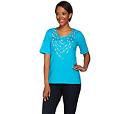 Bob Mackies Short Sleeve Knit Top with Studded Detail - A275318