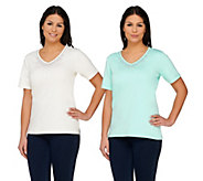 As Is Quacker Factory Set of 2 Multicolor Sparkle & Shine Knit Tops - A278818