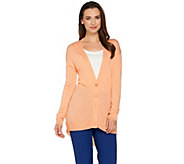 H by Halston Button Front Cardigan with Shirt Tail Hem - A279018