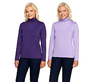 Susan Graver Essentials Butterknit Set of 2 Ruched Turtlenecks - A27918
