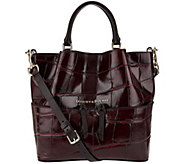 As Is Dooney & Bourke City Croco Small Leather Dawson Satchel - A279218