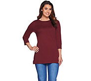 C. Wonder Essentals Pima Cotton Crew Neck 3/4 Sleeve Tunic - A279718